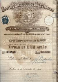 TÍTULO DE UMA ACÇÃO (ESC. 80$00) DO BANCO PORTUGUEZ E BRAZILEIRO, S.A.R.L. - CAPITAL ESC. 3.000.000$00