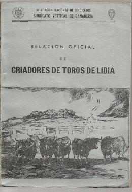 RELACION OFICIAL DE CRIADORES DE TOROS DE LIDIA