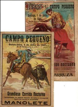 FOLHETOS(2) DE CORRIDAS DE TOIROS DE TOIROS NO CAMPO PEQUENO EM QUE PARTICIPARAM MANOLETE E CARLOS ARRUZA