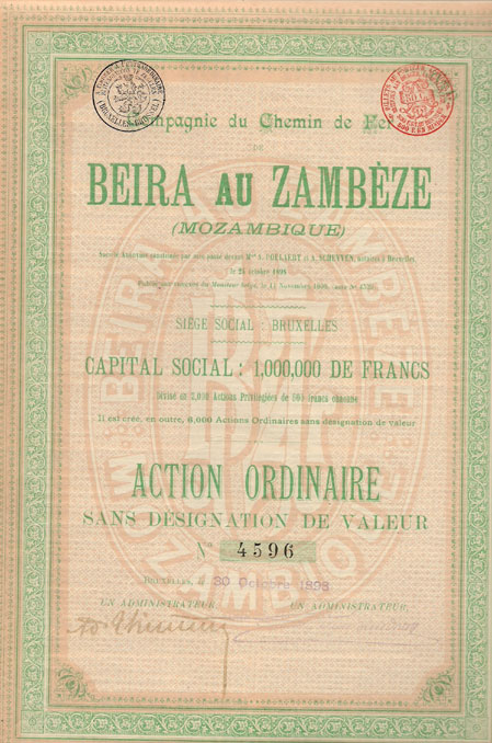COMPAGNIE DU CHEMIN DE FER BEIRA AU ZAMBEZE (MOZAMBIQUE)-TÍTULO DE 1 ACÇÃO