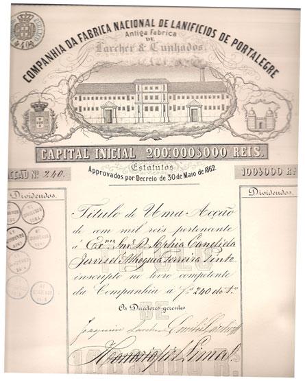 COMPANHIA DA FÁBRICA NACIONAL DE LANIFICIOS DE PORTALEGRE-ANTIGA FÁBRICA DE LARCHER E CUNHADOS-TÍTULO DE 100$000 RS-1 ACÇÃO