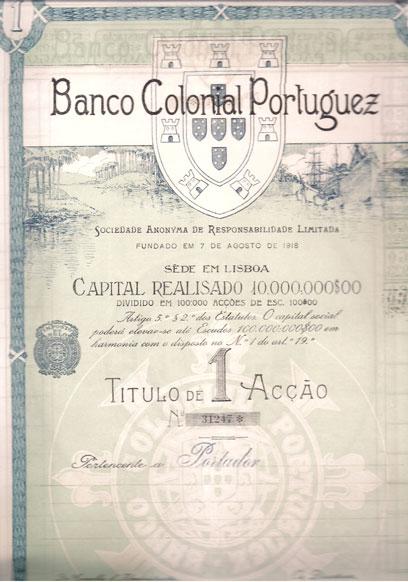 BANCO COLONIAL PORTUGUEZ-TÍTULO DE 1 ACÇÃO