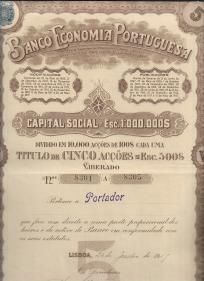 BANCO ECONOMIA PORTUGUESA - TÍTULO DE 5 ACÇÕES, COM O VALOR NOMINAL DE ESC. 500$00