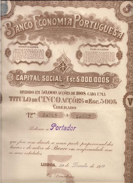 BANCO ECONOMIA PORTUGUESA-TÍTULO DE 5 ACÇÕES