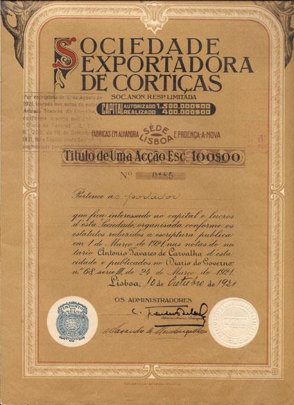 SOCIEDADE EXPORTADORA DE CORTIÇAS, SARL-TÍTULO DE 1 ACÇÃO