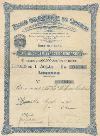 BANCO INTERNACIONAL DO COMÉRCIO-TÍTULO DE 1 ACÇÃO