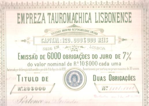 EMPRESA TAUROMACHICA LISBONENSE-TÍTULO DE 2 OBRIGAÇÕES