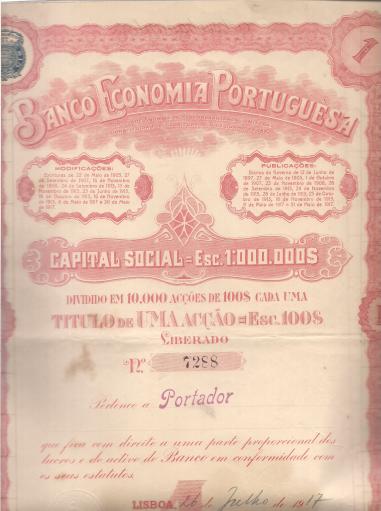 BANCO ECONOMIA PORTUGUESA-TÍTULO DE 1 ACÇÃO