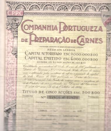 COMPANHIA PORTUGUESA DE PREPARAÇÃO DE CARNES-TÍTULO DE 5 ACÇÕES