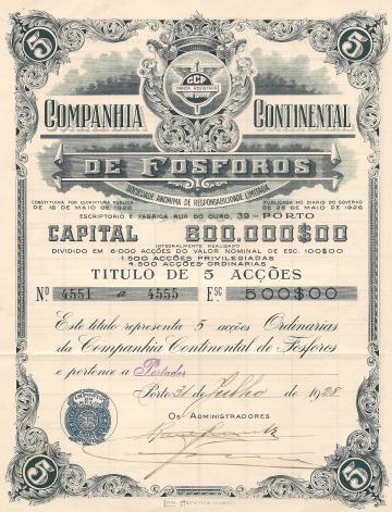 COMPANHIA CONTINENTAL DE FÓSFOROS, SARL - TÍTULO DE 1 ACÇÃO (100,00 ESC.)