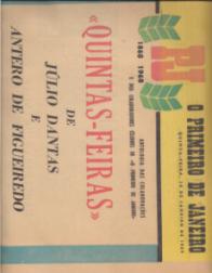 CADERNOS DO CENTENÁRIO-«O PRIMEIRO DE JANEIRO»(1868-1968)1-Pequena História de um Grande Jornal(12 pp.);2-«As Cartas da Capital», de Guilherme de Azevedo(28 pp.);3-Folhetinistas do século XIX (1ªSérie-Manuel Roussado;Júlio César Machado; Urbano Loureiro;Camilo Castelo Branco; Alberto Pimentel;Luis Augusto Rebelo da Silva;Guerra Junqueiro;Latino Coelho;Visconde da Ouguela) (16 pp.);4-Folhetinistas do século XIX(D.António da Costa; Alberto Braga; Eduardo Barros Lobo;Ramalho Ortigão;Alberto de Oliveira;Rocha Peixoto;António Arroio) (16 pp.);5-Folhetins Polémicos do séc.XIX (Antero de Quental;Camilo Castelo Branco;Manuel Pinheiro Chagas;Oliveira Martins) (16 pp.);6-Folhetins Críticos do século XIX (Germano Vieira Meireles; Camilo Castelo Branco;Antero de Quental; Oliveira Martins;Eça de Queirós;Alberto de Oliveira; José de Figueiredo) (12 pp.);7-Poetas do séc.XIX (16 pp.);8-Cá e Lá-Guilherme de Azevedo correspondente de «O Primeiro de Janeiro» em Paris (16 pp.); 9-As Primeiras Grandes Reportagens - A Catástrofe do Teatro Baquet(1888);D.Pedro II, ex-Imperador do Brasil, visita o Porto(1889);O 31 de Janeiro de 1891 no Porto (16 pp.);10-As Primeiras Grandes Reportagens(1894-1903)-A Família Real em Madrid(1892);Comemorações no Porto do centenário do Infante D.Henrique (1394-1894);A Corrida de Automóveis Paris-Madrid(1913); O Porto visto de Balão em 1903) (12 pp.);11-Cartas do Estrangeiro(1888-1900) Carlos Lobo de Ávila; Manuel Pinheiro Chagas; Guedes de Oliveira; Agostinho de Campos); 12-Cartas do Estrangeiro(1902-1916) Queirós Ribeiro; Justino de Montalvão; José Maria de Alpoim; 13-Raridades (Fragmento de um romance inédito, de Camilo Castelo Branco), Homenagens (Estreia em Lisboa do «Suave Milagre», de Eça de Queirós...), Debates (Carolina Michaelis e a Ortografia Nacional; Uma subscrição a favor de Gomes Leal); Inquéritos(O Monumento do Marquês de Pombal...), Actualidades (Artigos de João Chagas, Antero de Figueiredo e Justino Montalvão) (20 pp.); 14-Cronistas do século 