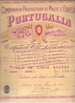 COMPANHIA PRODUCTORA DE MALTE E CERVEJA PORTUGÁLIA-TÍTULO DE CINCO ACÇÕES