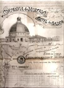 COMPANHIA DO MERCADO GERAL DE GADOS, S.A.R.L. - TÍTULO DE 1 ACÇÃO DE 100$000 RS.