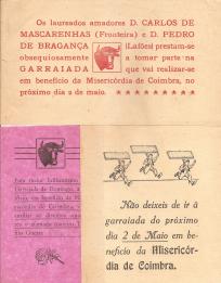 GARRAIADA EM BENEFÍCIO DA MISERICÓRDIA DE COIMBRA COM OS LAUREADOS AMADORES D. CARLOS DE MASCARENHAS(FRONTEIRA),  D. PEDRO DE BRAGANÇA(LAFÕES) E O TOUREIRO ESPANHOL TEÓFILO GUERRA