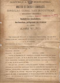 ALVARÁ DE UM DEPÓSITO DE GASOLINA CONCEDIDO A A.T. DE OLIVEIRA NA RUA ANTÓNIO MARIA CARDOSO,34, EM LISBOA
