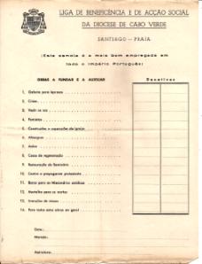 FOLHA DE RECOLHA DE ESMOLAS DA «LIGA DE BENEFICÊNCIA E DE ACÇÃO SOCIAL DA DIOCESE DE CABO VERDE»