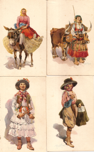 COSTUMES PORTUGUESES-SALOIA-LISBOA(1);MULHER DA AREOSA-AFIFE(2);MIRANDEZ-PAULITEIRO(8);ALENTEJO-FRONTEIRA(7)