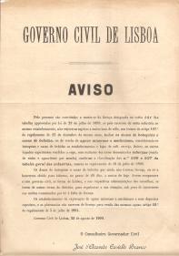 AVISO DO GOVERNO CIVIL DE LISBOA A PROPÓSITO DO LICENCIAMENTO DOS BOTEQUINS E CASAS DE BEBIDAS...