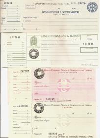 CHEQUES COM OS RESPECTIVOS CANHOTOS DOS BANCOS PINTO & SOTTO MAYOR, FONSECAS & BURNAY E ESPÍRITO SANTO E COMERCIAL DE LISBOA
