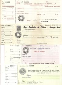 CHEQUES COM CANHOTOS DOS BANCOS CRÉDIT FRANCO-PORTUGAIS, PORTUGUÊS DO ATLÂNTICO, CAIXA ECONÓMICA DE LISBOA-MONTEPIO GERAL E BANCO DE CRÉDITO COMERCIAL E INDUSTRIAL DE ANGOLA