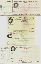CHEQUES DOS BANCOS ESPÍRITO SANTO E COMERCIAL DE LISBOA, PANCADA, MORAES & CIA. E TOTTA ALIANÇA