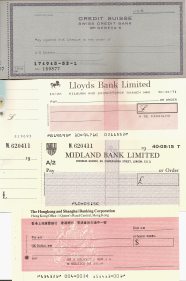 CHEQUES DOS BANCOS «BANQUE DE GESTION PRIVÉE», «CREDIT SUISSE», «MIDLAND BANK», «LLOYDS BANK» E «THE HONG KONG AND SHANGAI BANKING CORPORATION»