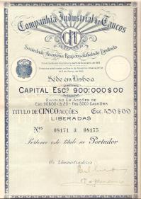 TÍTULO DE CINCO ACÇÕES DA COMPANHIA INDUSTRIAL DE TANCOS (CIT), S.A.R.L.