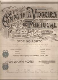 TÍTULO DE CINCO ACÇÕES DA COMPANHIA VIDREIRA DE PORTUGAL, S.A.R.L.