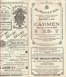 REAL THEATRO DE S,CARLOS - PROGRAMMA DA OPERA «CARMEN»