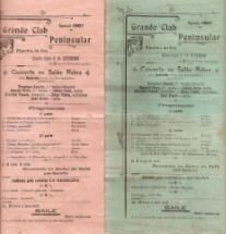 PROGRAMAS DO GRANDE CLUB PENINSULAR DA FIGUEIRA DA FOZ - EPOCA 1907