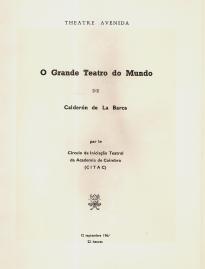 O GRANDE TEATRO DO MUNDO, DE CALDERÓN DE LA BARCA - PROGRAMA