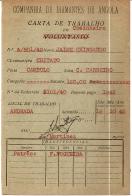 CARTAS DE TRABALHO (2) EMITIDAS PELA COMPANHIA DE DIAMANTES DE ANGOLA A DOIS TRABALHADORES NEGROS (COZINHEIRO E AGUADEIRO)