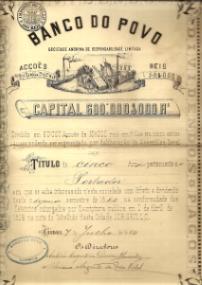 TÍTULO DE 5 ACÇÕES AO PORTADOR DO BANCO DO POVO, S.A.R.L., NO VALOR DE 50$000 REIS