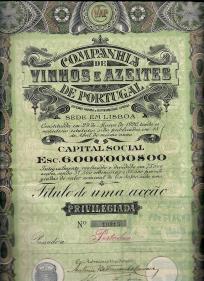 TÍTULO DE UMA ACÇÃO PRIVILEGIADA DA COMPANHIA DE VINHOS E AZEITES DE PORTUGAL,S.A.R.L. NO VALOR NOMINAL DE ESC. 80$00, AO PORTADOR