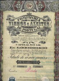 TÍTULO DE CINCO ACÇÕES PRIVILEGIADAS DA COMPANHIA DE VINHOS E AZEITES DE PORTUGAL,S.A.R.L. COM O VALOR DE ESC. 80$00 CADA UMA, AO PORTADOR