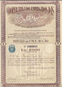 TÍTULO DE UMA ACÇÃO DA COOPERATIVA DOS EMPREGADOS DAS COMPANHIAS REUNIDAS DE GAZ E ELECTRICIDADE, SOC. COOPERATIVA DE RESPONSABILIDADE LIMITADA, NO VALOR DE ESC. 10$00 CADA UMA