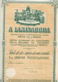 TÍTULO DE DEZ ACÇÕES DE «A LAMINADORA», S.A.R.L., COM UM VALOR NOMINAL DE CEM ESCUDOS CADA UMA