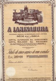 TÍTULO DE CINCO ACÇÕES DE «A LAMINADORA», S.A.R.L., COM UM VALOR NOMINAL DE CEM ESCUDOS CADA