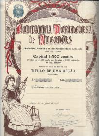 TÍTULO DE UMA ACÇÃO PRIVILEGIADA DA COMPANHIA PORTUGUESA DE ALGODÕES COM O VALOR NOMINAL DE ESC. 100$00