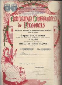 TÍTULO DE VINTE ACÇÕES DA COMPANHIA PORTUGUESA DE ALGODÕES COM O VALOR NOMINAL DE ESC. 2.000$00