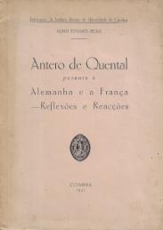 ANTERO DE QUENTAL PERANTE A ALEMANHA E A FRANÇA-REFLEXÕES E REACÇÕES
