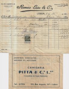 FACTURAS DA CAMISARIA «PITTA & CIA.LDA.» E DA «RAMIRO LEÃO & CIA.», AMBAS EM NOME DO VISCONDE DO TORRÃO, D. LUIZ MARIA DE SALDANHA E LENCASTRE