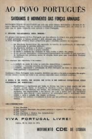 COMUNICADO DO MDP/CDE A SAUDAR O MOVIMENTO DAS FORÇAS ARMADAS