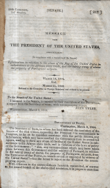 MESSAGE FROM THE PRESIDENT OF THE UNITED STATES, COMMUNICATING INFORMATION IN RELATION TO THE ABUSE OF THE FLAG OF THE UNITED STATES IN SUBSERVIENCE TO THE AFRICAN SLAVE TRADE, AN THE TAKING AWAY OF SLAVES THE PROPERTY OF PORTUGUESE SUBJECTS