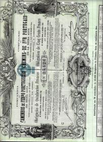 COMPANHIA DOS CAMINHOS DE FERRO PORTUGUEZES DA BEIRA ALTA, S.A.R.L. - TÍTULO DE 1 OBRIGAÇÃO DE 500 FRANCOS, DO PRIMEIRO GRAU, DE RENDIMENTO FIXO, AO PORTADOR