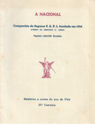«A NACIONAL»-COMPª. DE SEGUROS, S.A.R.L.-RELATÓRIO E CONTAS DO ANO DE 1944
