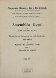 COMPANHIAS REUNIDAS GAZ E ELECTRICIDADE, S.A.R.L.-RELATÓRIOS DO CONSELHO DE ADMINISTRAÇÃO COM AS LISTAS DOS ACCIONISTAS