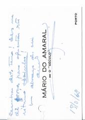 CARTAS DO JORNALISTA MÁRIO DO AMARAL («O SÉCULO»-PORTO) PARA MANUEL CHAVES CAMINHA