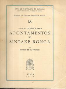 TEMAS DE LINGUÍSTICA BANTA-APONTAMENTOS DE SINTAXE RONGA